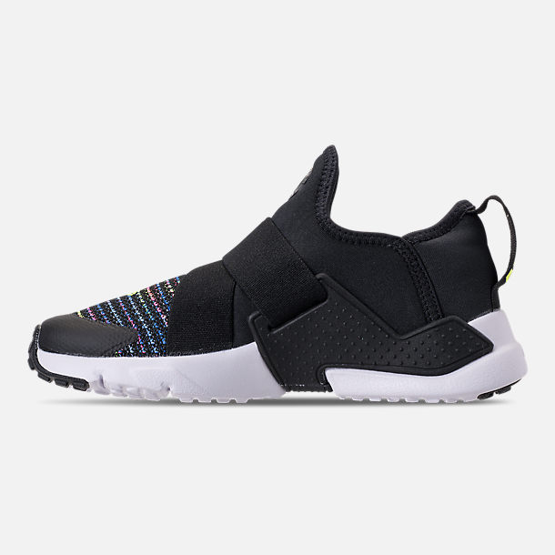 Left view of Boys' Preschool Nike Huarache Extreme SE Running Shoes in Black/White/Racer Pink/Racer Blue