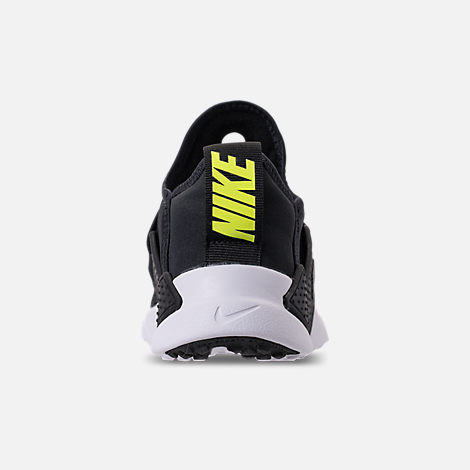 Back view of Little Kids' Nike Huarache Extreme SE Casual Shoes in Black/White/Racer Pink/Racer Blue
