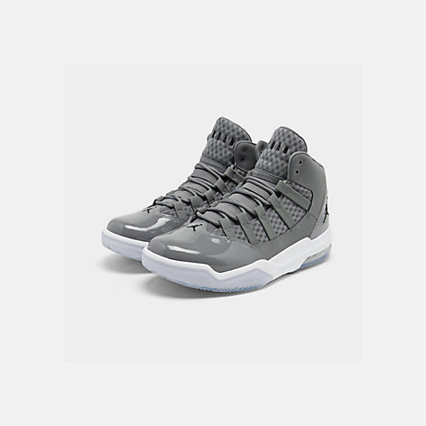 Three Quarter view of Men's Air Jordan Max Aura Off-Court Shoes in Cool Grey/Black/White/Clear