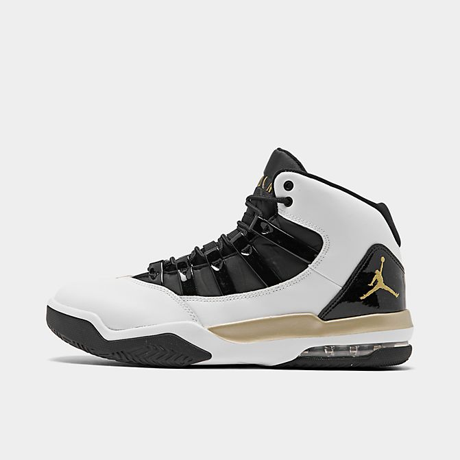 Right view of Men's Air Jordan Max Aura Off-Court Shoes in White/Black/Gold
