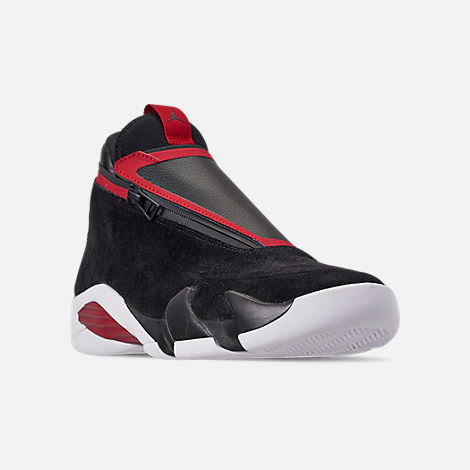 Three Quarter view of Men's Jordan Jumpman Z Basketball Shoes in Black/Gym Red/White