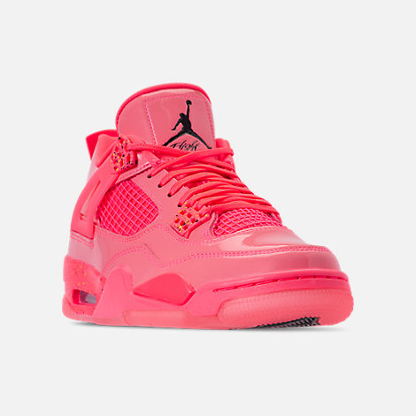 low priced edc5d d9514 Three Quarter view of Women s Air Jordan Retro 4 NRG Basketball Shoes in  Hot Punch