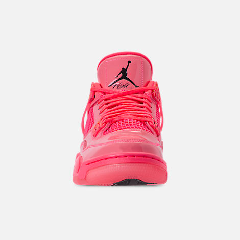 Front view of Women's Air Jordan Retro 4 NRG Basketball Shoes in Hot Punch/Black/Volight