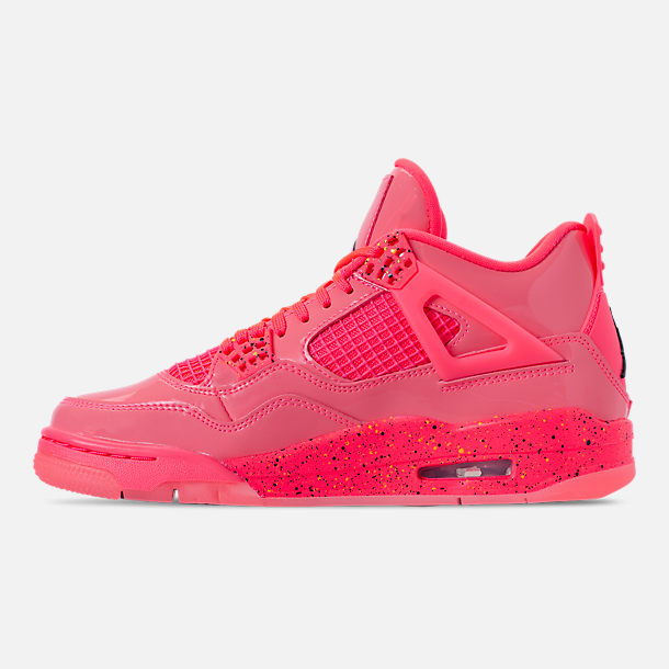 Left view of Women's Air Jordan Retro 4 NRG Basketball Shoes in Hot Punch/Black/Volight