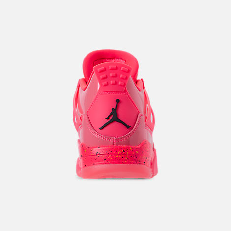 Back view of Women's Air Jordan Retro 4 NRG Basketball Shoes in Hot Punch/Black/Volight