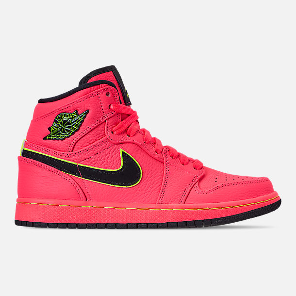 Right view of Women's Air Jordan Retro 1 Premium Basketball Shoes in Hot Punch/Black/Volight