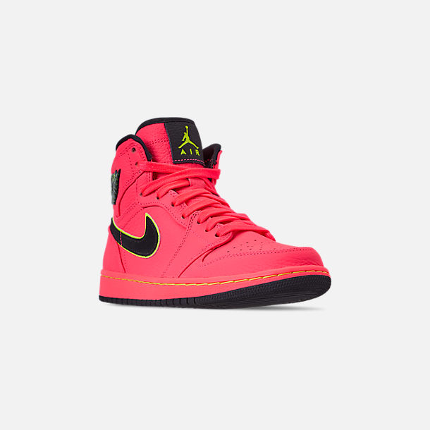 Three Quarter view of Women's Air Jordan Retro 1 Premium Basketball Shoes in Hot Punch/Black/Volight