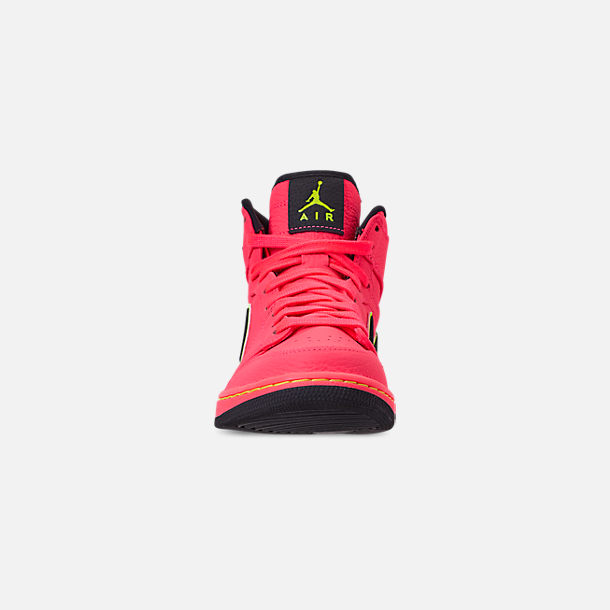 Front view of Women's Air Jordan Retro 1 Premium Basketball Shoes in Hot Punch/Black/Volight