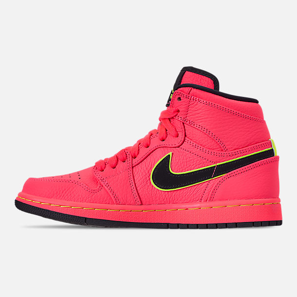 Left view of Women's Air Jordan Retro 1 Premium Basketball Shoes in Hot Punch/Black/Volight