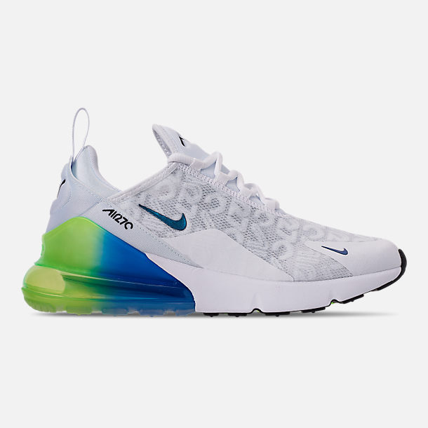 Right view of Men's Nike Air Max 270 SE Casual Shoes in White/White/Lime Blast/Photo Blue