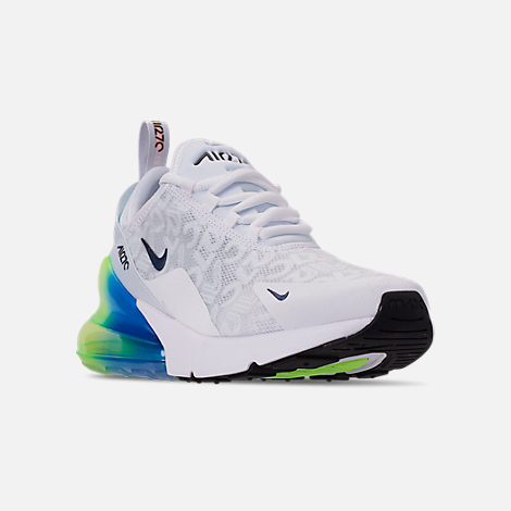 Three Quarter view of Men's Nike Air Max 270 SE Casual Shoes in White/White/Lime Blast/Photo Blue