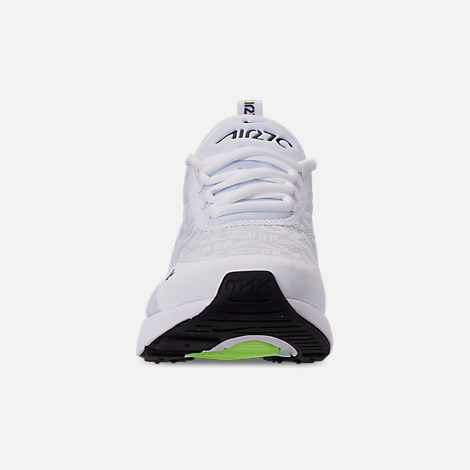 Front view of Men's Nike Air Max 270 SE Casual Shoes in White/White/Lime Blast/Photo Blue