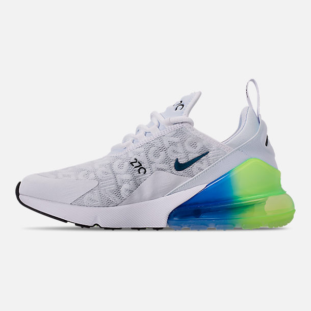 Left view of Men's Nike Air Max 270 SE Casual Shoes in White/White/Lime Blast/Photo Blue