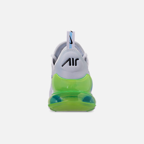 Back view of Men's Nike Air Max 270 SE Casual Shoes in White/White/Lime Blast/Photo Blue