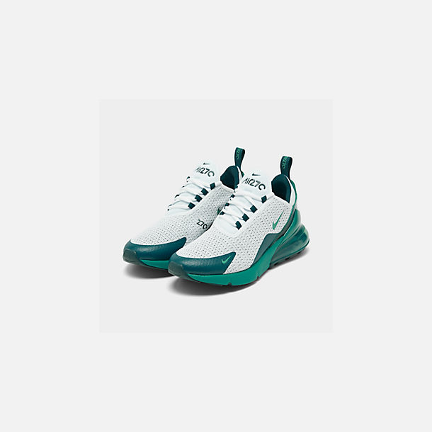 Three Quarter view of Men's Nike Air Max 270 SE Casual Shoes in White/Spirit Teal/Nightshade