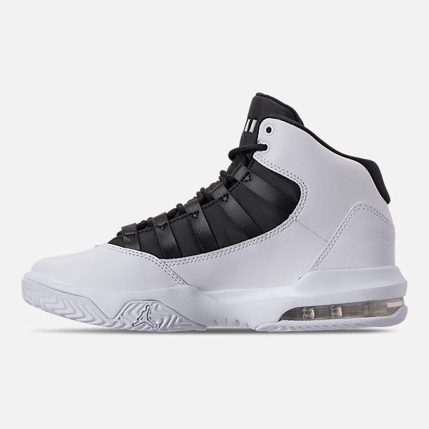 Left view of Boys' Big Kids' Air Jordan Max Aura Basketball Shoes in White/Black