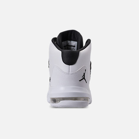 Back view of Boys' Big Kids' Air Jordan Max Aura Basketball Shoes in White/Black
