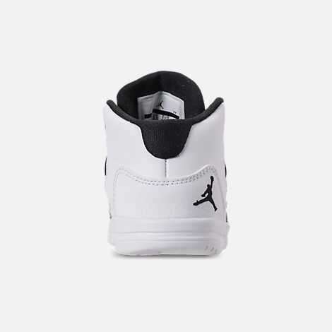 Back view of Boys' Toddler Jordan Max Aura Basketball Shoes in White/Black/Black