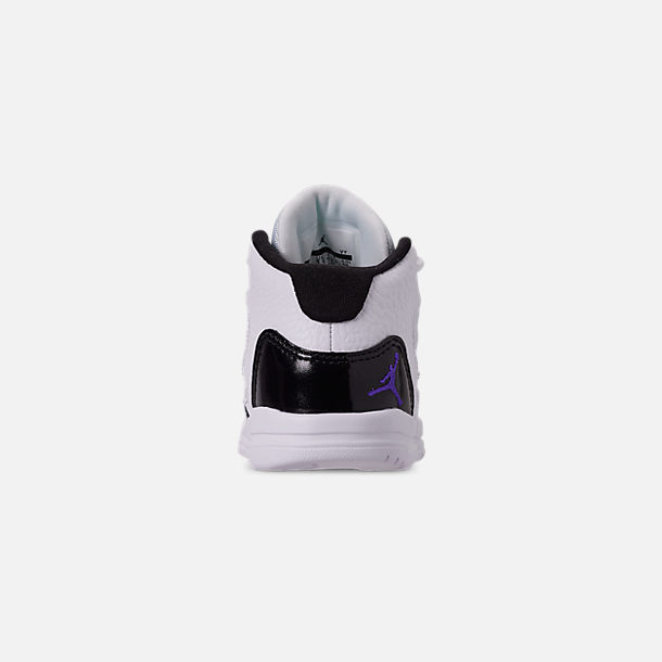 Back view of Boys' Toddler Jordan Max Aura Basketball Shoes in White/Dark Concord/Black