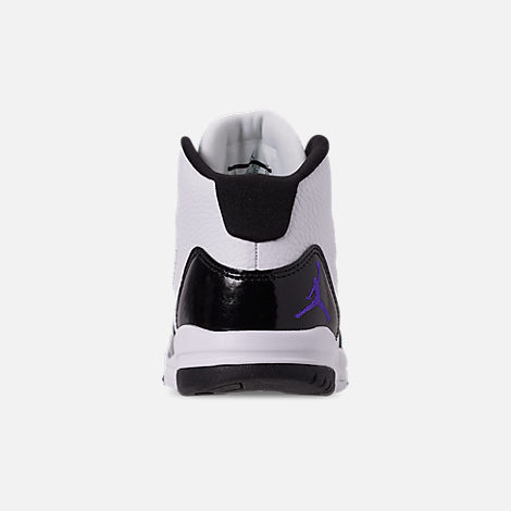 Back view of Boys' Little Kids' Jordan Max Aura Basketball Shoes in White/Dark Concord/Black