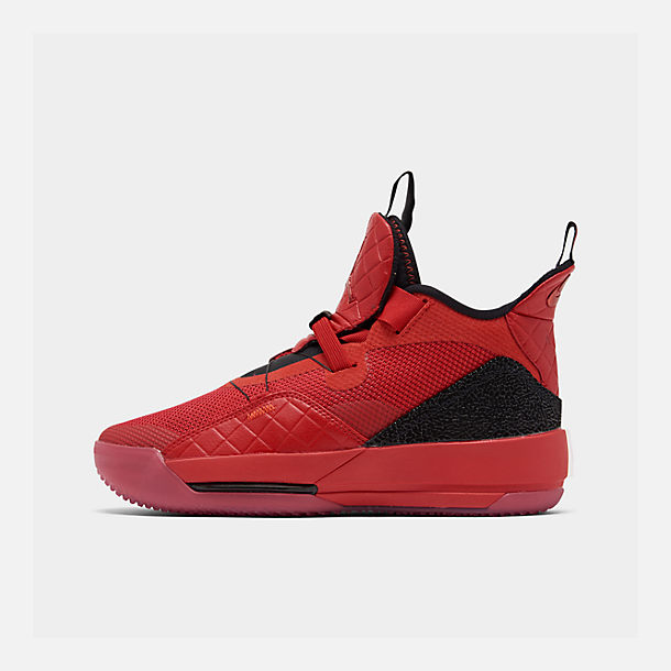Right view of Boys' Big Kids' Air Jordan XXXIII Basketball Shoes in University Red/University Red