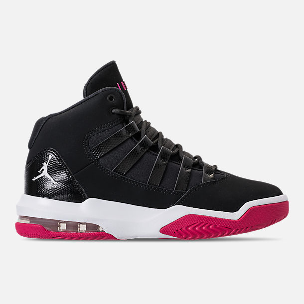 Right view of Girls' Big Kids' Jordan Max Aura Basketball Shoes in Black/White/Rush Pink
