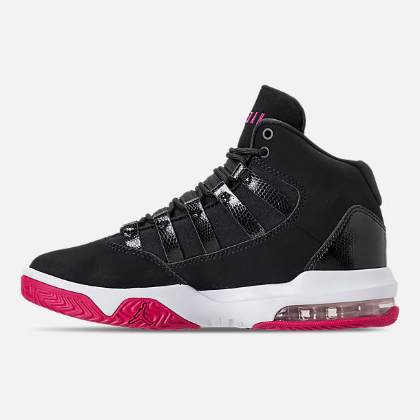 Left view of Girls' Big Kids' Jordan Max Aura Basketball Shoes in Black/White/Rush Pink