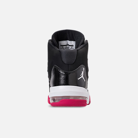 Back view of Girls' Big Kids' Jordan Max Aura Basketball Shoes in Black/White/Rush Pink