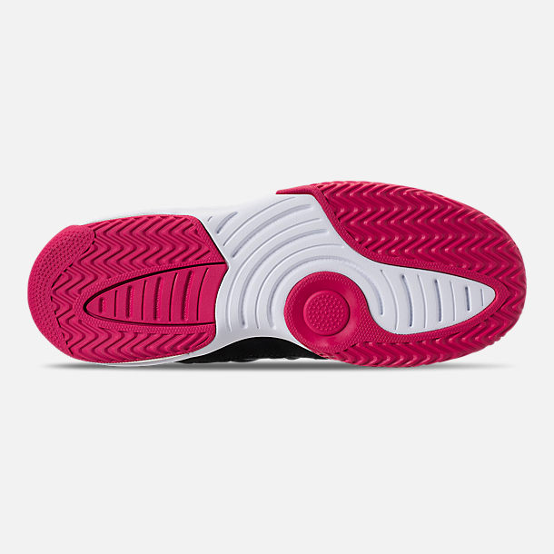 Bottom view of Girls' Big Kids' Jordan Max Aura Basketball Shoes in Black/White/Rush Pink