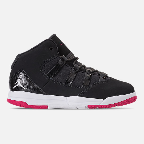 Right view of Girls' Little Kids' Jordan Max Aura Basketball Shoes in Black/White/Rush Pink