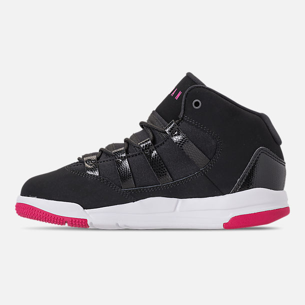 Left view of Girls' Little Kids' Jordan Max Aura Basketball Shoes in Black/White/Rush Pink