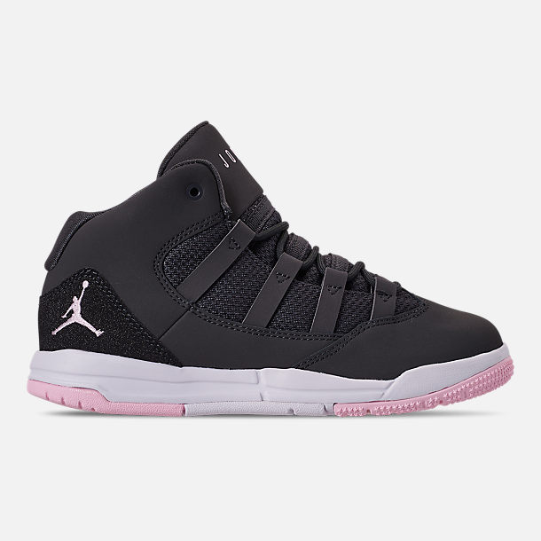Right view of Girls' Little Kids' Jordan Max Aura Basketball Shoes in Anthracite/Pink Foam/Black/White