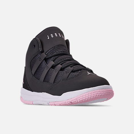 Three Quarter view of Girls' Little Kids' Jordan Max Aura Basketball Shoes in Anthracite/Pink Foam/Black/White