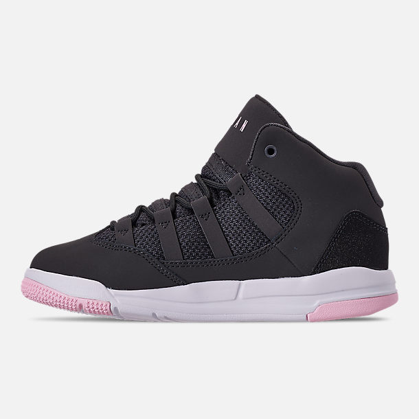 Left view of Girls' Little Kids' Jordan Max Aura Basketball Shoes in Anthracite/Pink Foam/Black/White