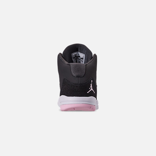 Back view of Girls' Little Kids' Jordan Max Aura Basketball Shoes in Anthracite/Pink Foam/Black/White