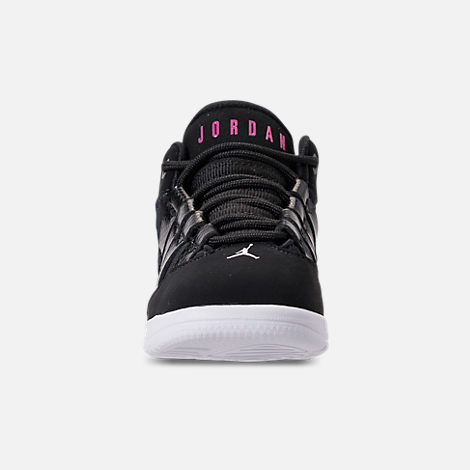 Front view of Girls' Toddler Jordan Max Aura Basketball Shoes in Black/White/Rush Pink