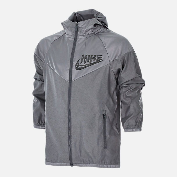 Front view of Boys' Nike Sportswear Energy Windrunner Jacket in Gunsmoke