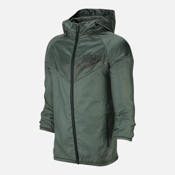 Front view of Boys' Nike Sportswear Energy Windrunner Jacket in Outdoor Green