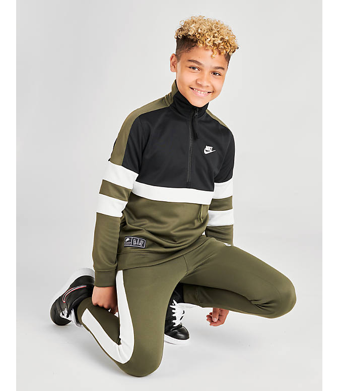 Front view of Boys' Nike Air Track Suit in Cargo Khaki