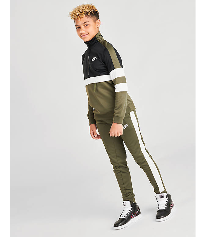 Front Three Quarter view of Boys' Nike Air Track Suit in Cargo Khaki
