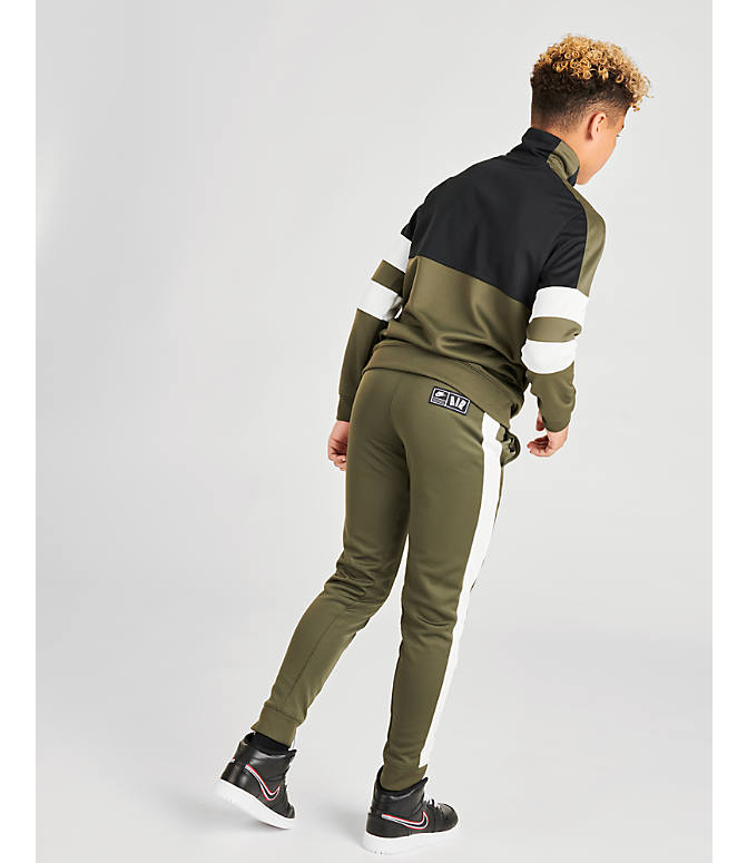 Back Left view of Boys' Nike Air Track Suit in Cargo Khaki