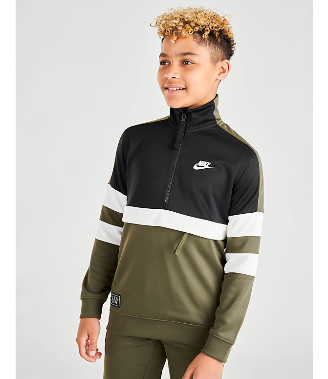 Back Right view of Boys' Nike Air Track Suit in Cargo Khaki