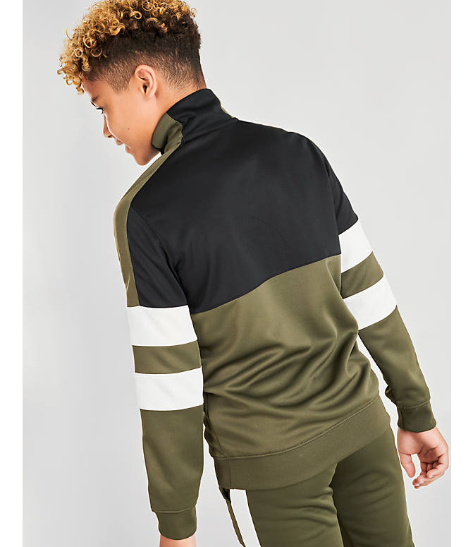On Model 5 view of Boys' Nike Air Track Suit in Cargo Khaki