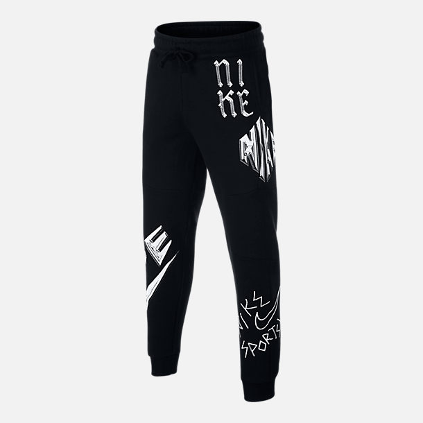 Front view of Boys' Nike Sportswear Energy Graphic Jogger Pants in Black/White