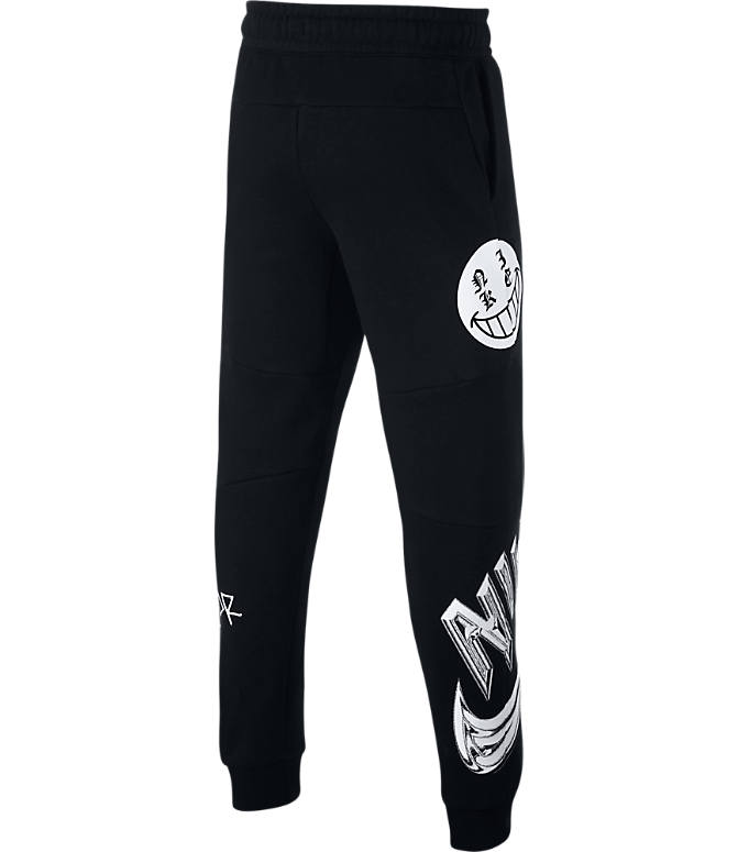 Back view of Boys' Nike Sportswear Energy Graphic Jogger Pants in Black/White