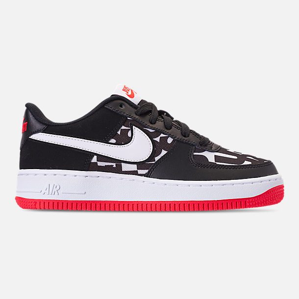 Right view of Kids' Grade School Nike Air Force 1 JDI Print Casual Shoes in Black/White/Bright Crimson/Wolf Grey