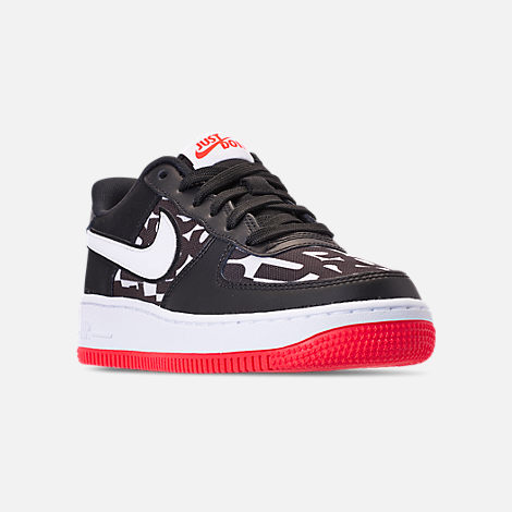 Three Quarter view of Kids' Grade School Nike Air Force 1 JDI Print Casual Shoes in Black/White/Bright Crimson/Wolf Grey