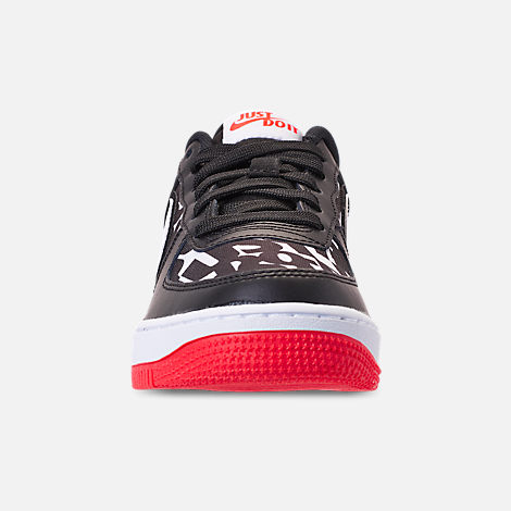 Front view of Kids' Grade School Nike Air Force 1 JDI Print Casual Shoes in Black/White/Bright Crimson/Wolf Grey