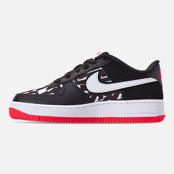Left view of Kids' Grade School Nike Air Force 1 JDI Print Casual Shoes in Black/White/Bright Crimson/Wolf Grey