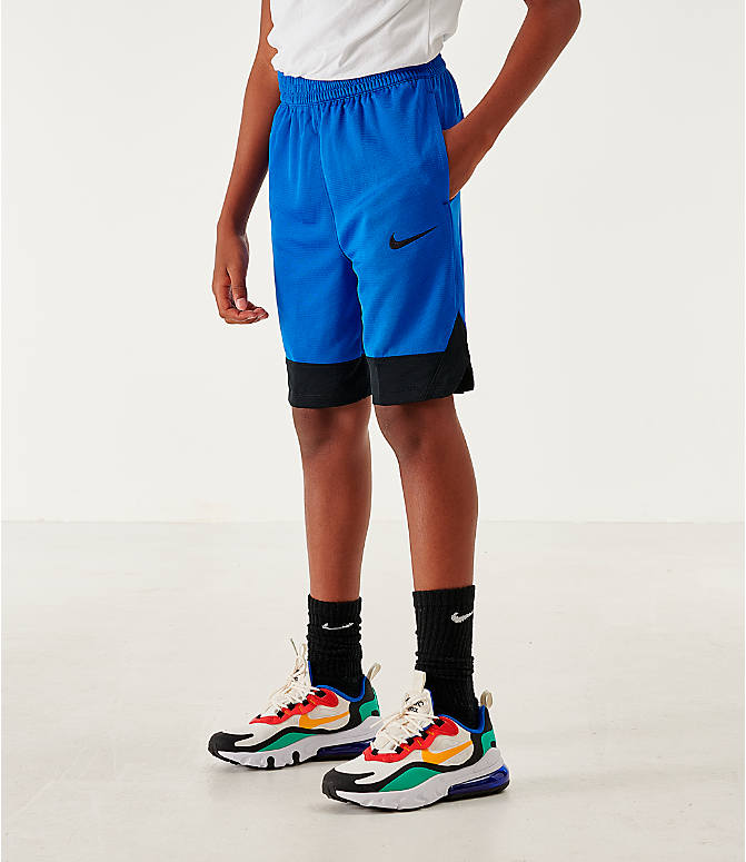 Front view of Boys' Nike Icon Basketball Shorts in Game Royal/Black